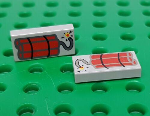 Lego 2 x Tile 3069bp03 Tile 1x2 Printed Dynamite