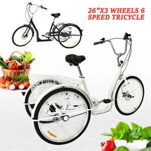 3 rad dreirad f r erwachsene 6 geschwindigkeit fahrrad trike cruise 26 mit korb ebay. Black Bedroom Furniture Sets. Home Design Ideas