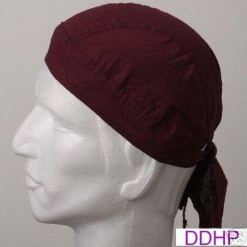 BURGUNDY Maroon FITTED HEAD BANDANA w//TIES Skull Cap Wrap DOO Do Du RAG Doorag