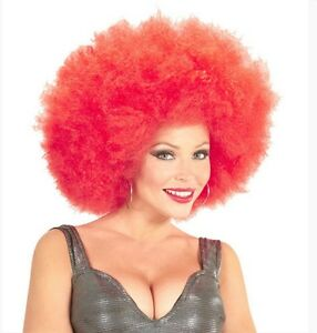 Ladies Mens Big Red Afro Wig 60s 70s 80s Clown Curly Pop Star Disco ... 164143651d