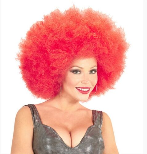 Ladies Mens Big Red Afro Wig 60s 70s 80s Clown Curly Pop Star Disco Fancy Dress