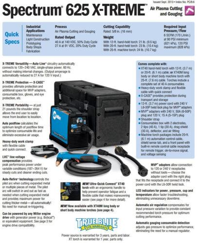 Miller Spectrum 625 X-Treme Plasma Cutter w20/' Torch 907579001 and Accessories