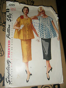 819683f8b12 Vintage 1950 s Simplicity 1099 Maternity Suit-Dress Pattern - Size ...
