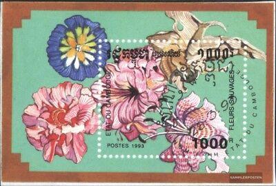 Kind-Hearted Kambodscha Block196 kompl.ausg. Gestempelt 1993 Wildblumen