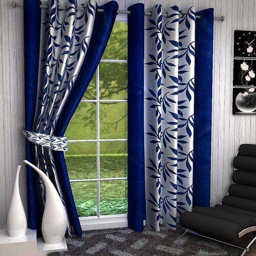 Premium Blue Kolaveri 7Ft Door Curtains-Set of 2