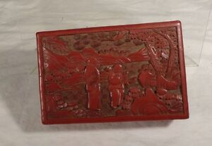 Antique Vintage Chinese Carved Red Cinnabar Jewelry Box Cigarette