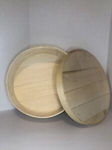 """Rond en Bois Courbé fromage roue Box 15"""" Diamètre conteneur de stockage ronde couvercle"""