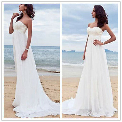 Elegant Empire Chiffon Lace Beach Wedding Dresses Pregnant Maternity Bridal Gown Ebay