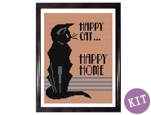Happy-Cat-Happy-Home-Art-Deco-Style-Cross-Stitch-Kit