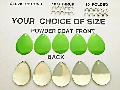 10 choice of sz 1 thru 6 colorado smooth CANDY GREEN SPINNER BLADES worm harness