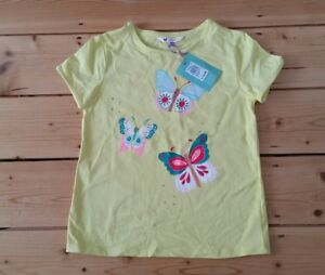 6974800f BNWT John Lewis girls yellow butterfly top with sequins, age 10 yrs ...