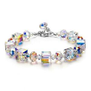 Neu-Kristall-Stretch-Armband-Frauen-Einstellbare-Perlen-Armreif-Luxus-Gesch-J0M9