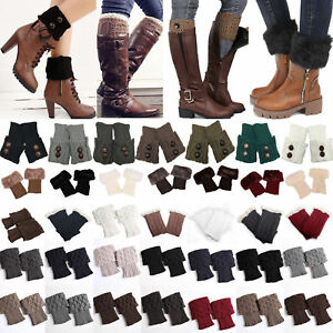 133111d28ca Image is loading Womens-Ladies-Leg-Warmers-Winter-Knee-Crochet-Boot-