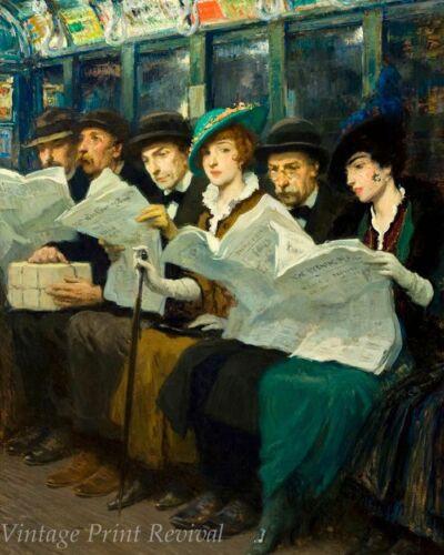 Subway Riders by Francis Luis Mora Train Passengers Reading    8x10 Print 1101