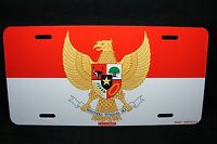 Indonesia Flag With Coat Of Arms Metal Novelty License Plate Tag For Cars