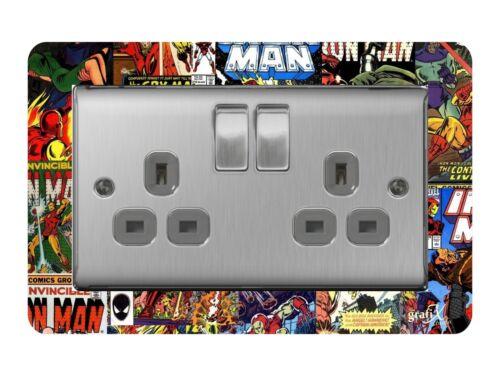 Socket Surround Acrylic Finger Plate Comics Dsr2 Double Light Switch
