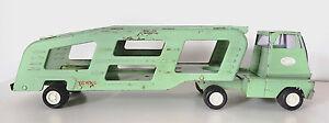 Vintage-1967-TONKA-Green-CAR-HAULER-CARRIER-Transport-SEMI-TRUCK-96