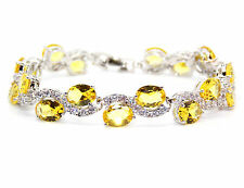 Silver Citrine And White Topaz 30.6ct Bracelet