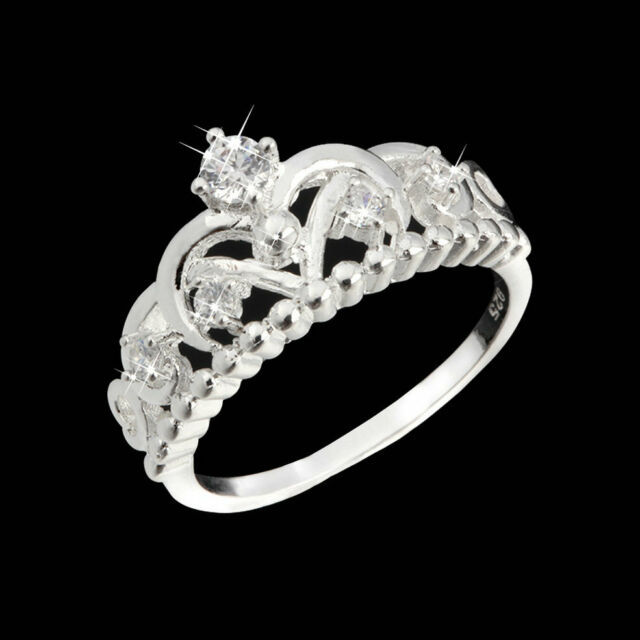 New Fashion Pretty Women Girl Crown Lady Crystal Finger Ring Jewelry GT