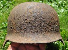#22 WWII Germany German Original War Damaged Relic Combat Helmet BLASTED OUTWARD