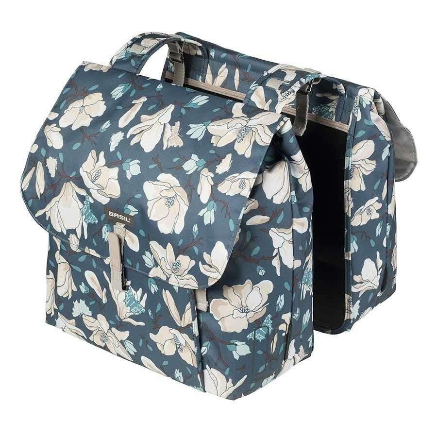 Basil Magnolia Double Bag Pannier Bags Teal bluee Bike