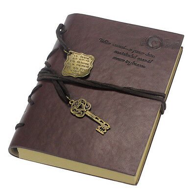 Classic Deep Brown PU Leather Retro Vintage Blank Pages Notebook Journal Diary