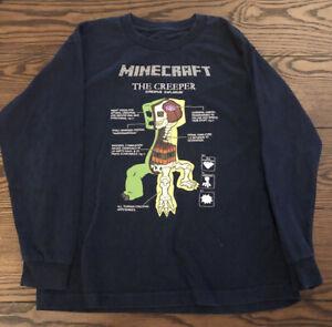 Boys/' Minecraft Creeper Backer Hooded Long Sleeve T-Shirt New