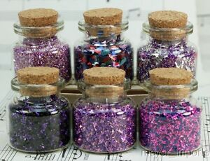 Purple-Set-of-Corked-Jars-311-M-0606-German-Glass-Glitter