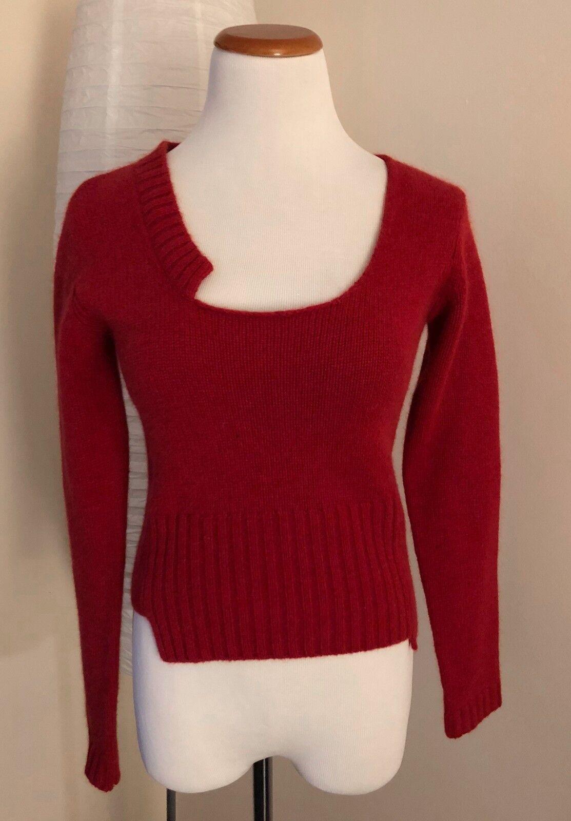 NWT  Burn n purple Maroon Asymmetrical Angora & Wool Sweater - XS Orig.