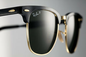 6e1fa30400c Image is loading POLARIZED-RayBan-ALUMINIUM-CLUBMASTER-Black-Gold-Sunglasses -RB-