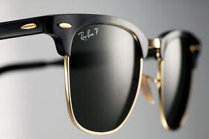 965107f843 Image is loading POLARIZED-RayBan-ALUMINIUM-CLUBMASTER-Black-Gold-Sunglasses -RB-