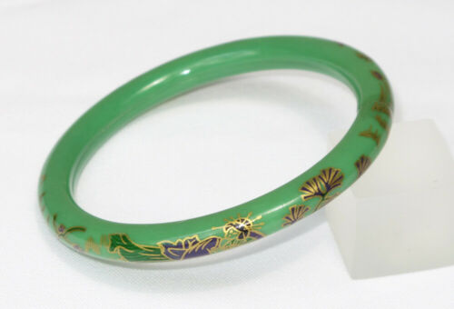 Vintage Celluloid Bracelet Bangle Art Deco green w