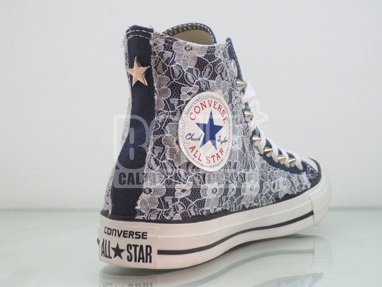 Converse Stellina all star pizzo borchie Stellina Converse navy blu artigianali 56e492