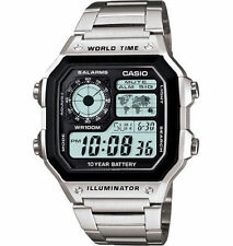 Casio Men's Chronograph Watch, 100 Meter WR, 5 Alarms, World Time, AE1200WHD-1AV