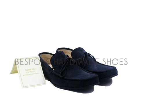 Handmade Men/'s Genuine Blue Suede Loafers /& Slip Ons Casual Mocassins Shoes