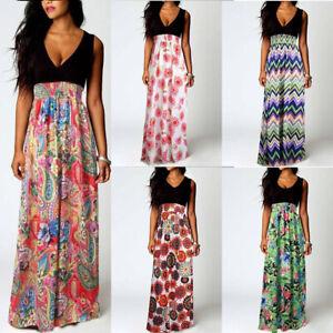 Boho-Party-Evening-Maxi-Cocktail-Floral-Women-039-s-Sundress-Summer-Beach-Dress