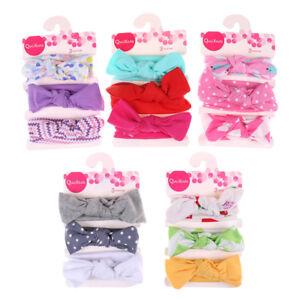 3Pcs/Set bebé niñas niños algodón bowknot diadema niños banda de pelo sombre~GN