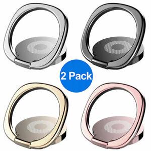 2x-Finger-Ring-Cellulare-Titolare-Stand-piastra-metallica-Grip-Magnetico-Rotante-360