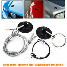 2racing Car Round Bonnet Aluminum Alloy Cable Hood Pin Lock Kit Black Universal Fits More Than One Vehicle