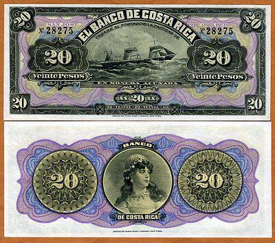 Costa Rica, 20 Pesos, 1899, P-S165r, aUNC > Woman, Ship