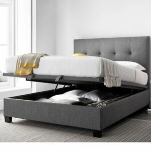 Yorkie Grey Fabric Ottoman Storage Bed In Double King Or Super King