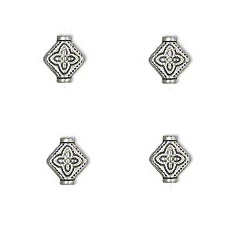 30 Antiqued Silver Pewter Flat Diamond Beads 10MM