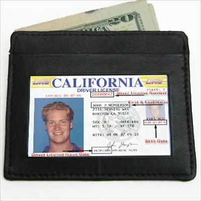 BLACK MEN's LEATHER THIN SLIM Wallet Holder Money Credit Card ID Window