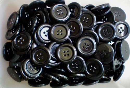 25mm 40L Negro Abrigo Botones Grandes De Calidad 4 Agujeros Coser Tejer Artesanía W471