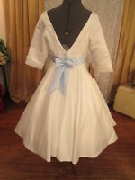 50s Vintage Inspired Satin Tea Knee Length Blue Sash Jackie O Style Sz 10