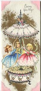 VINTAGE CUTE PRETTY GIRLS MAY POLE CAROURSEL 1 CHRISTMAS TOY SHOP ART CARD