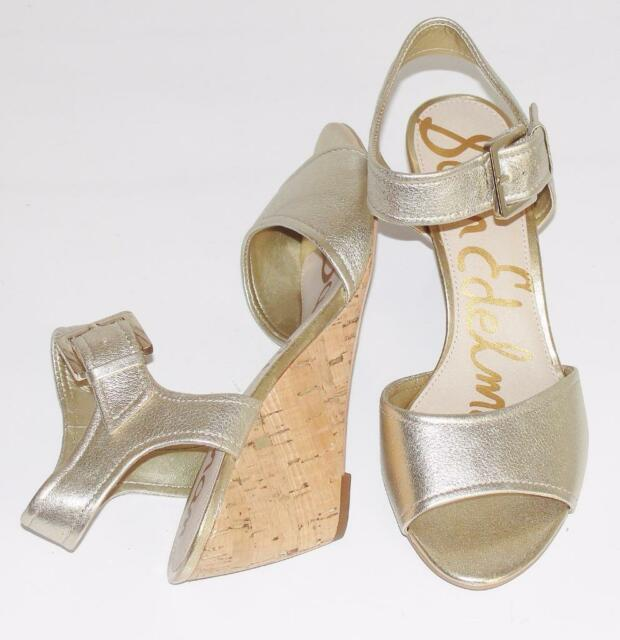 SAM EDELMAN~NWOB~METALLIC GOLD~PEBBLED LEATHER~SLING~WEDGE SANDALS SHOES~9.5