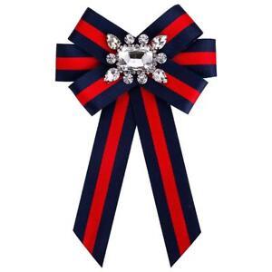 Damen Brosche Strass Blau NEU Schleife Stoff Rot Kragen Mantel Anstecknadel zu Details Pins m0nOv8Nw