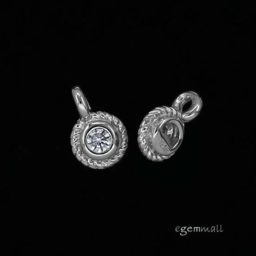 2 Rhodium Plaqué Argent Sterling Zircone cubique Dangle Charm fin Tag Perles 5 mm #97902