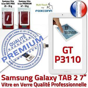 Vitre-Tactile-GT-P3110-Galaxy-TAB-2-Qualite-Assemblee-Adhesif-Ecran-Verre-Blanc